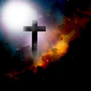 cross in dark clouds