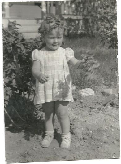 Sharon on the farm, 1946 or '47