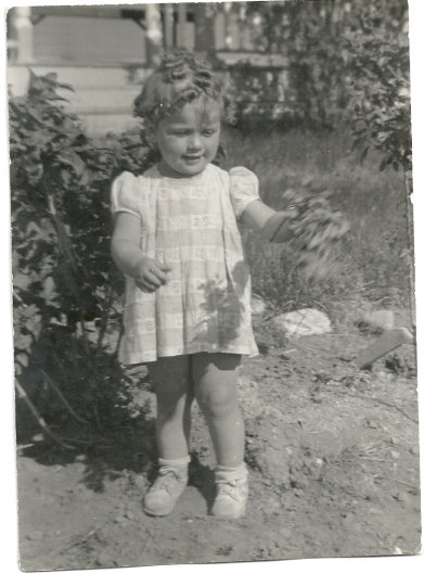 Sharon on the farm, 1946 or '47