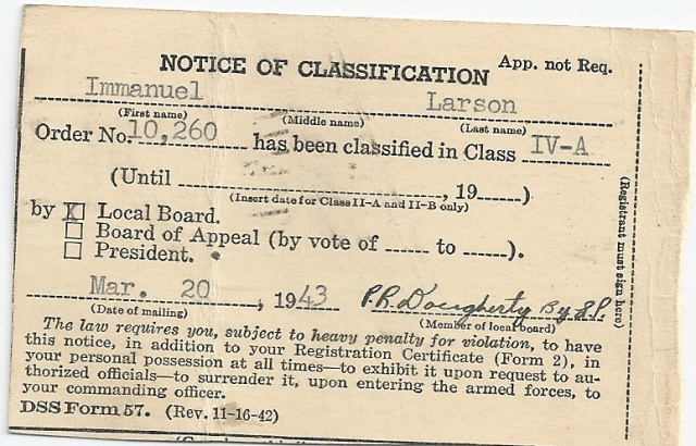 Larsen,Immanuel.Draftclassification back side 3.20.1943